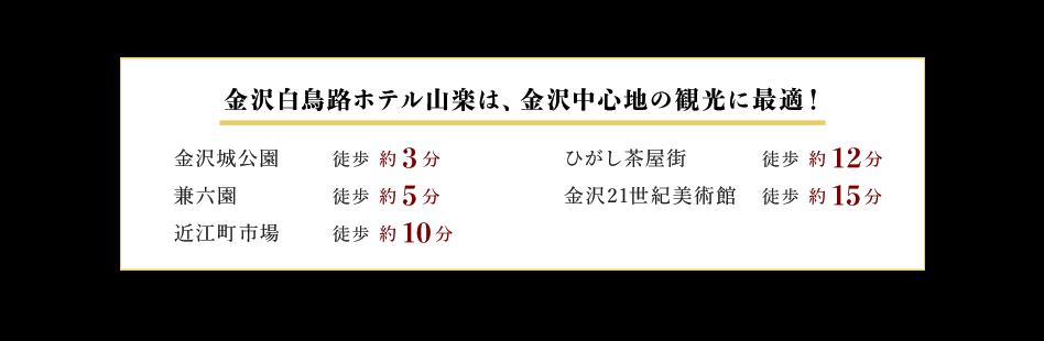 金沢白鳥路ホテル山楽は、金沢中心地の観光に最適!金沢城公園 徒歩約3分、兼六園 徒歩約5分、近江町市場 徒歩約10分