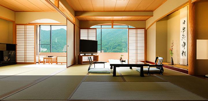 全室74平米以上、鬼怒川沿いのお部屋。