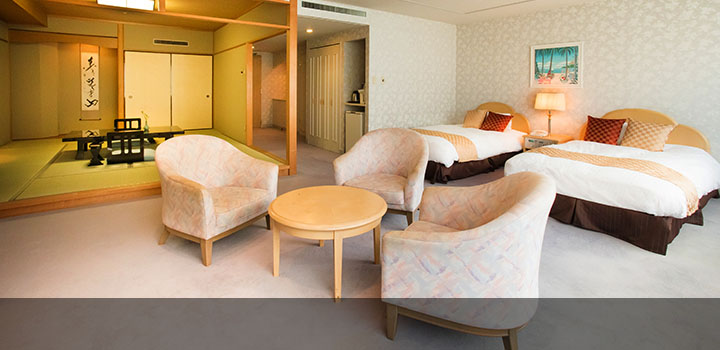 和室+ツインベッドで74平米の広々としたお部屋
